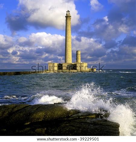 lighthouse, Gatteville, Normandy, France - stock photo