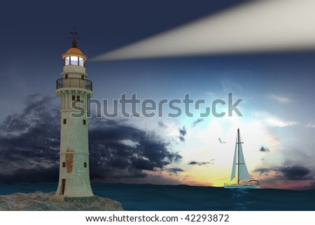 Lighthouse. Hi-res digitally generated image. - stock photo