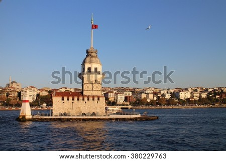 Lighthouse in Bosporus strait, Istanbul, Turkey - stock photo