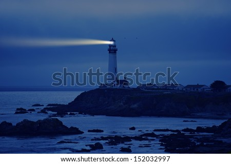 Lighthouse in California. Pigeon Point Lighthouse, CA, USA.  Pacific Ocean Cost Landscape. Lighthouse at Night. - stock photo