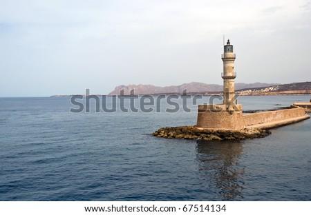 Lighthouse in Chania, Crete (Greece) . - stock photo