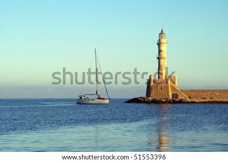 Lighthouse in Chania (Greece) in the morning - stock photo