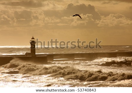 Lighthouse in Foz of Douro, Portugal - stock photo