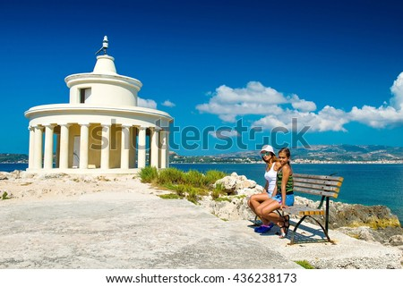Lighthouse in Kefalonia. Landscape of Lighthouse of St. Theodore at Argostoli, Kefalonia, Ionian islands, Greece. Attraction of the island of Kefalonia. The current lighthouse on the island. - stock photo