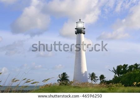 Lighthouse in Key Biscayne Florida sunset blue sky - stock photo