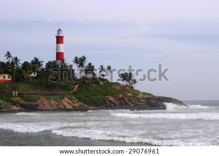 Lighthouse in Kovalam, South india - stock photo