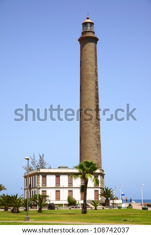 Lighthouse in Maspalomas, Gran Canaria Island - stock photo