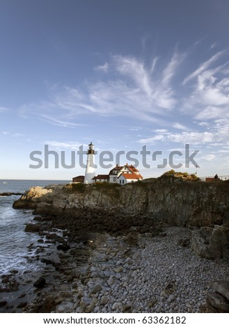 Lighthouse in Portland Maine in Fort Willams park - stock photo