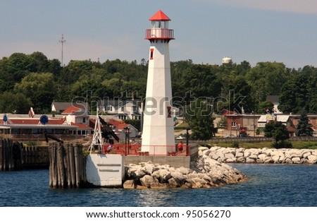 Lighthouse in St. Ignace, Michigan - stock photo