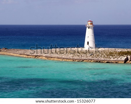 Lighthouse in the Bahamas - stock photo