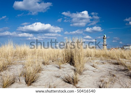 Lighthouse in Warnem�¼nde - stock photo