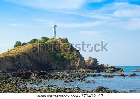 lighthouse landmark of  Koh Lanta, Krabi, Thailand - stock photo