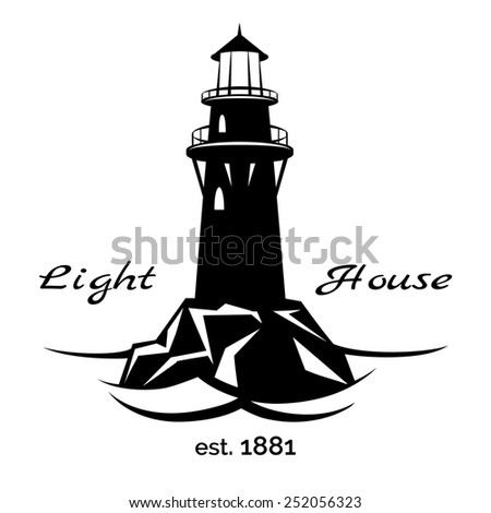 Lighthouse logo for for maritime companies, corporations and businesses on maritime transport - stock photo