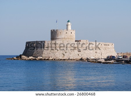 Lighthouse Near Where the Colossus Statue Stood on the Island of Rhodes, Greece - stock photo