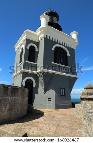 Lighthouse of the El Morro fort in San Juan, Puerto Rico.  - stock photo
