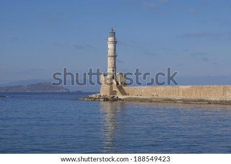 lighthouse, old harbour, Chania, Crete island, Greece - stock photo