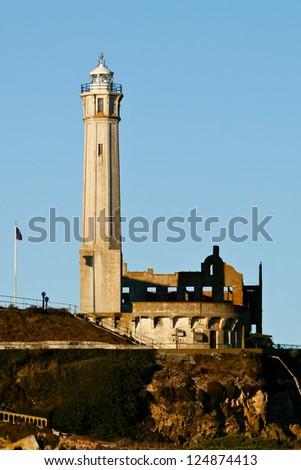 Lighthouse on Alcatraz Island - stock photo