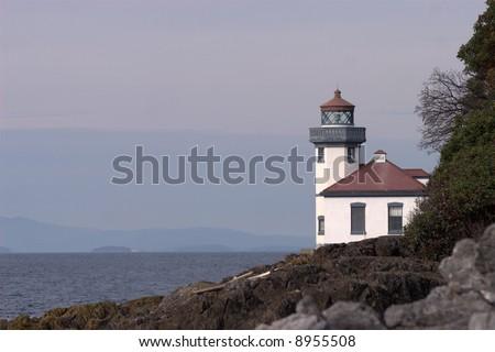 Lighthouse on San Juan Island, WA. - stock photo