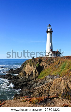 lighthouse on the california coast taken on a clear day - stock photo