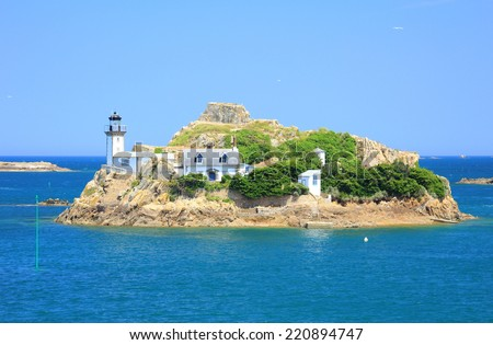 Lighthouse on the Ile Louet, Bay of Morlaix, Finistere, English Channel, Brittany, France - stock photo