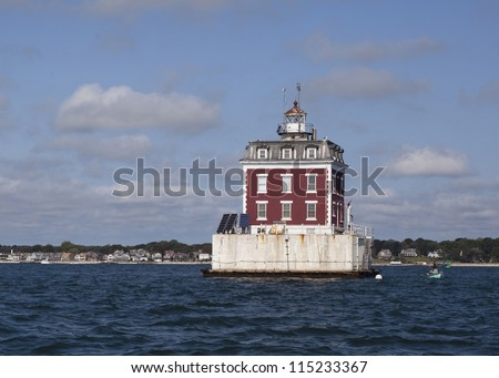 Lighthouse on the Thames river, New London Connecticut - stock photo
