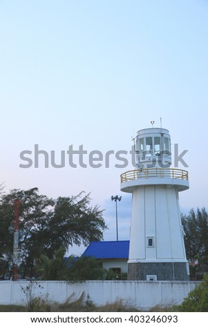 Lighthouse on the twilight time - stock photo