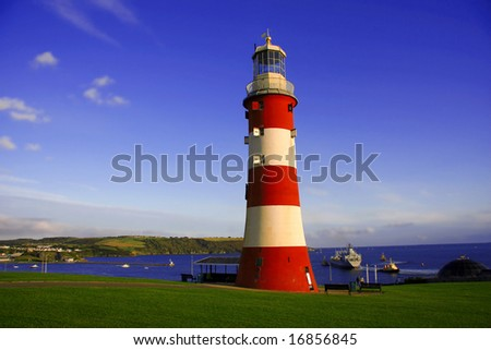 lighthouse, Plymouth, UK - stock photo