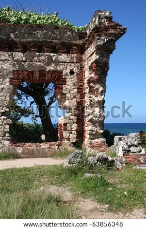 Lighthouse Ruins at Aguadilla Puerto Rico - stock photo