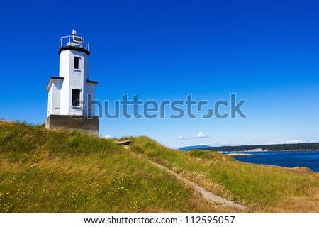 Lighthouse. San Juan islands in Washington state. - stock photo