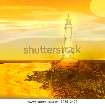 lighthouse seen from a tiny beach - Grunge Poster - stock photo