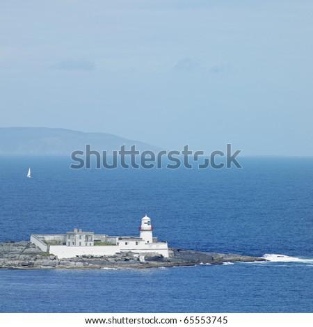 lighthouse, Valencia Island, County Kerry, Ireland - stock photo