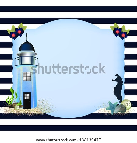 Lighthouse with a seahorse, shells and sand on a label shape on a navy blue stripe background. - stock photo