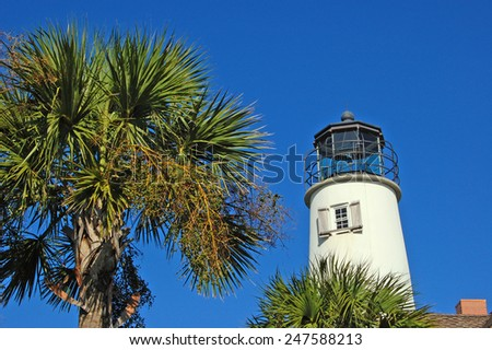 Lighthouse with palm tree on St. George Island, Florida - stock photo