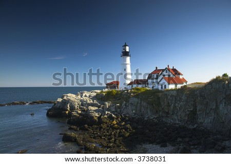 Lighthouses of New England during their famous Autumn - stock photo