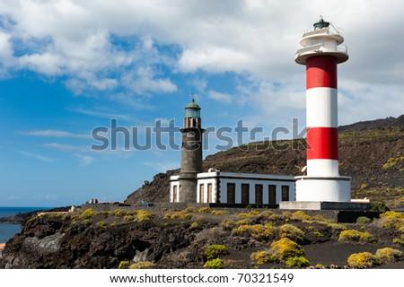 Lighthouses, Punto de Fuencaliente, La Palma, Canary islands, spain - stock photo