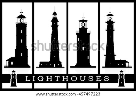 Lighthouses vector set. Silhouettes of large lighthouses over blue background. Raster illustration. - stock photo