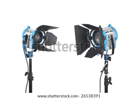 Lighting equipment two lamps, Isolated on white. - stock photo