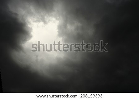 lighting in the dark thunderstorm clouds - stock photo