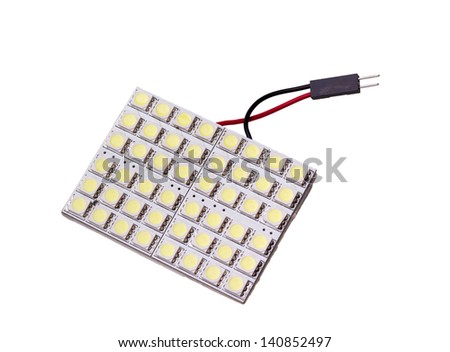 Lighting led panel with 48 LEDs to replace the bulb in car salon on white background - stock photo