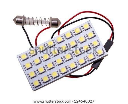 Lighting panel with 32 LED to replace the bulb in car salon on white background - stock photo