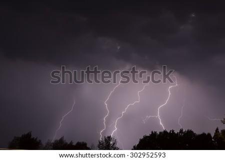 Lighting thunderstorm - stock photo
