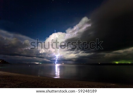 Lightning above the sea. Thailand - stock photo