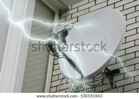 Lightning and the antenna - stock photo