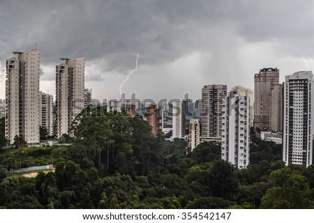 Lightning bolt in metropolis - stock photo