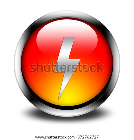 lightning button isolated  - stock photo