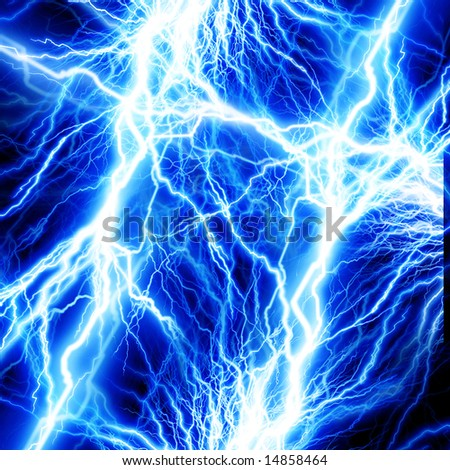 lightning flash on a dark background - stock photo