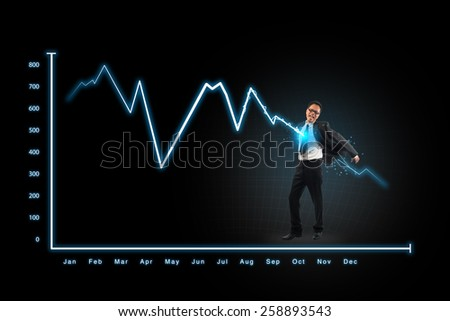 lightning graph attack businessman,concepts for business, finance, stock market and financial market news - stock photo
