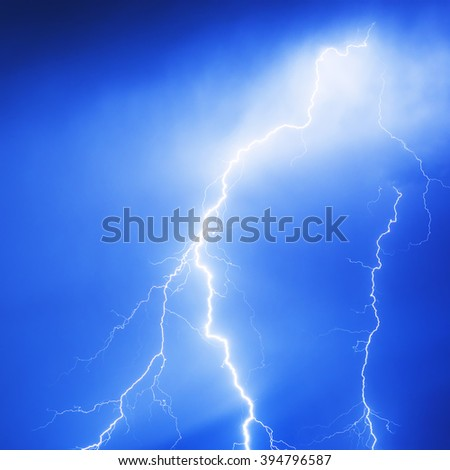 Lightning hits during the storm - stock photo