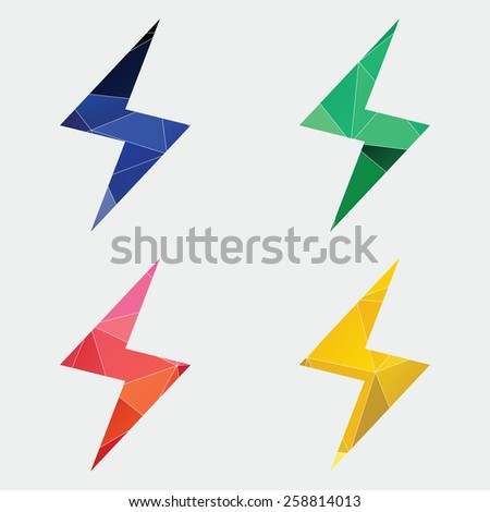 lightning icon Abstract Triangle Geometrical background  - stock photo