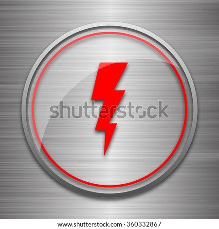 Lightning icon. Internet button on metallic background.  - stock photo
